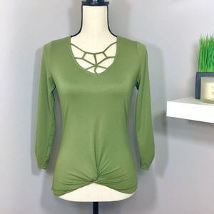 Green V-neck Crochet Long Sleeve Top